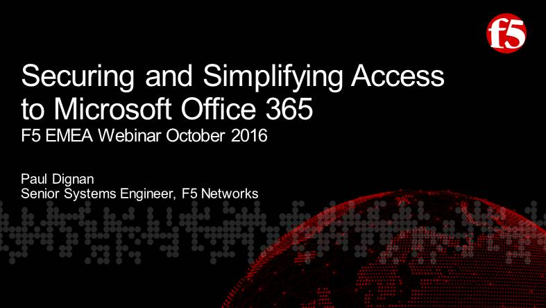 F5 EMEA Webinar October 2016  - English