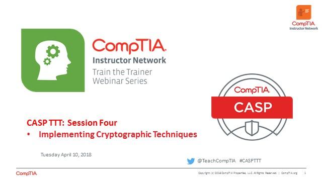 CASP TTT Session 4: Cryptographic Techniques