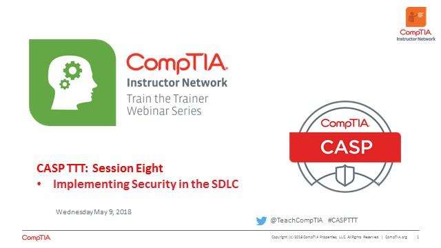 CASP TTT Session 8: SDLC