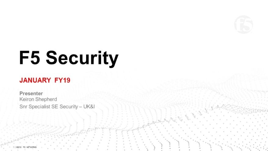 F5 EMEA Retail Security Webinar - January 2019