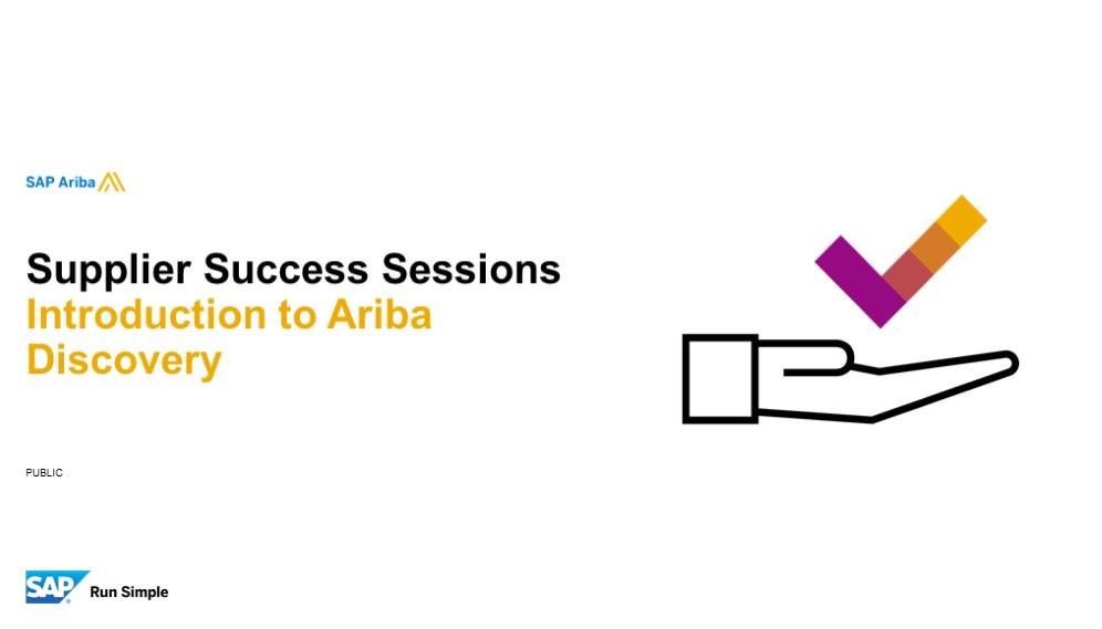 *SAP Ariba: Introduction to Ariba Discovery 15/01/2020*