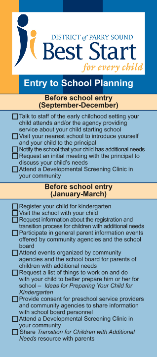 Entry to School Planning Bookmark