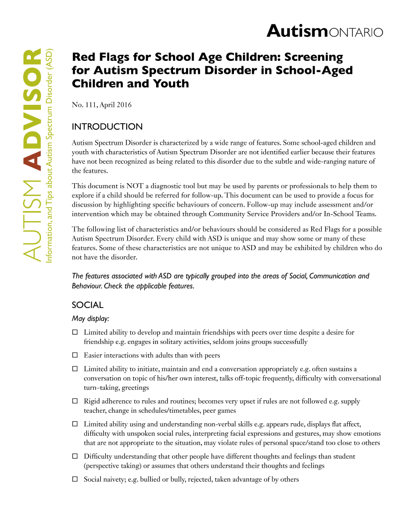 Screening for ASD in School-Age Children and Youth