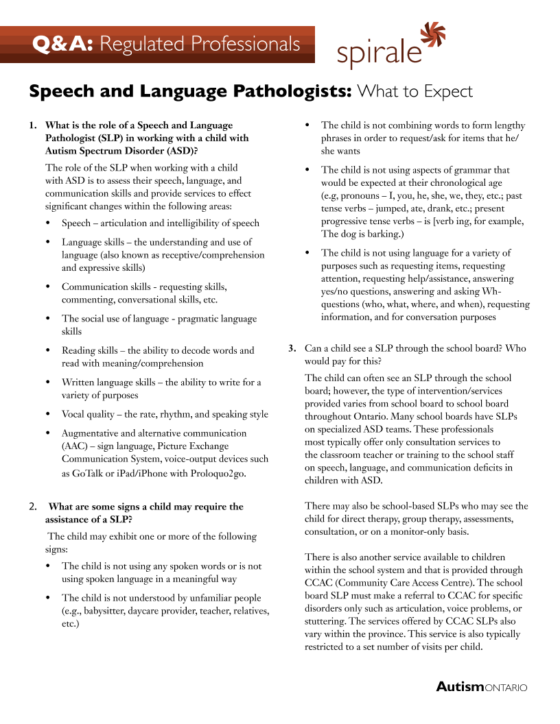 Speech Language Pathologists - What to Expect